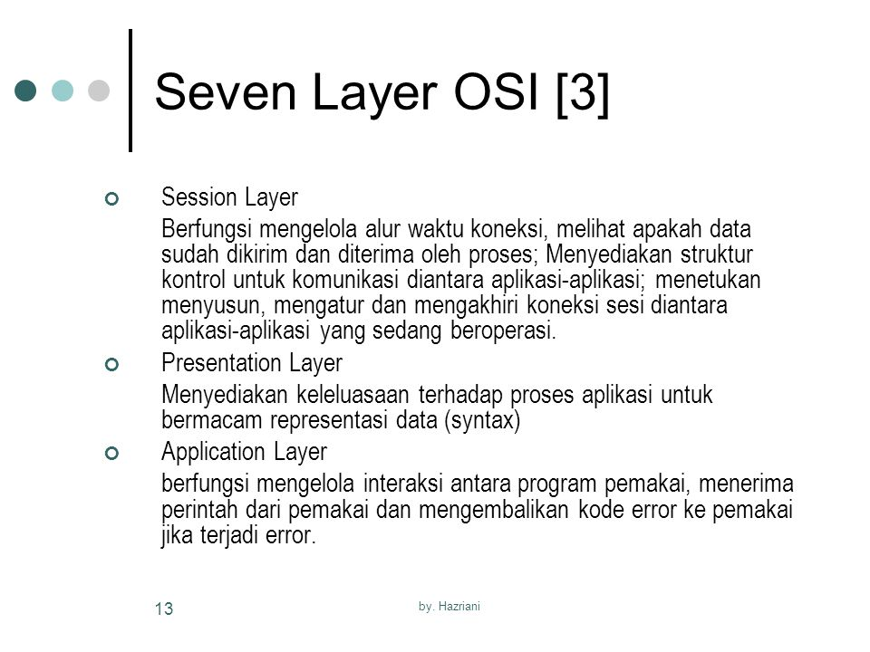 Seven Layer OSI [3] Session Layer
